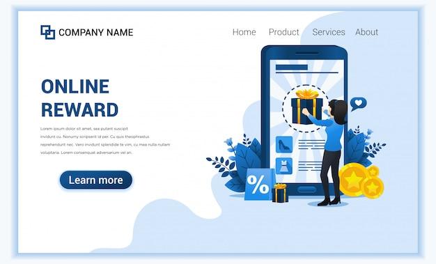Концепция онлайн вознаграждения с женщиной получает бонусную подарочную коробку от программы лояльности.