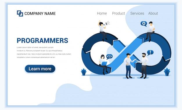 Программисты на работе концепции, разработка программного обеспечения с персонажами.