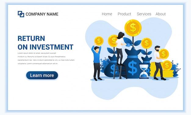 Концепция инвестирования денег с людьми растут монеты, прибыль, роялти от инвестиций.