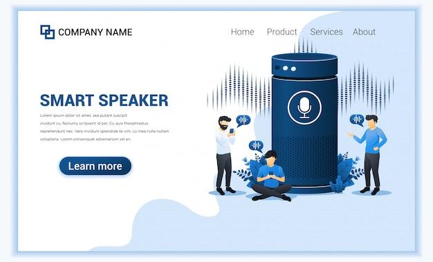 Концепция смарт-динамик, голосовой помощник диалог с людьми.