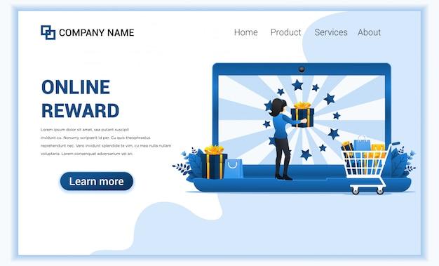 女性とのオンライン報酬コンセプトは、顧客ロイヤルティプログラムからボーナスギフトを受け取ります。