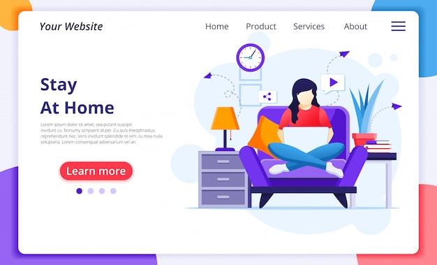 在宅勤務のコンセプトである、ラップトップを使用してソファーに座っている女性が、コロナウイルスの流行中に検疫に出かけます。ウェブサイトのランディングページのデザインテンプレート