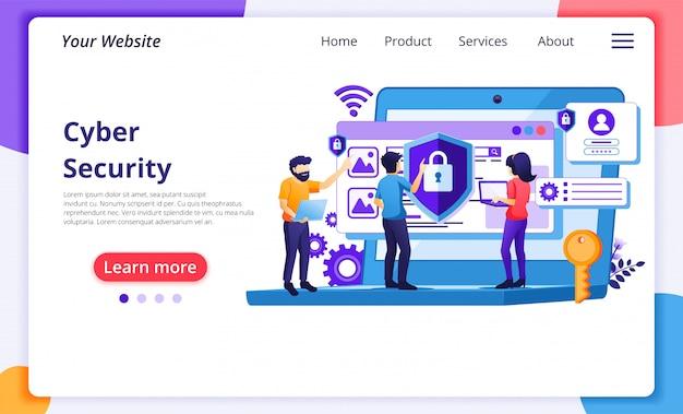 Концепция кибербезопасности, доступ людей и защита конфиденциальности данных. шаблон целевой страницы сайта