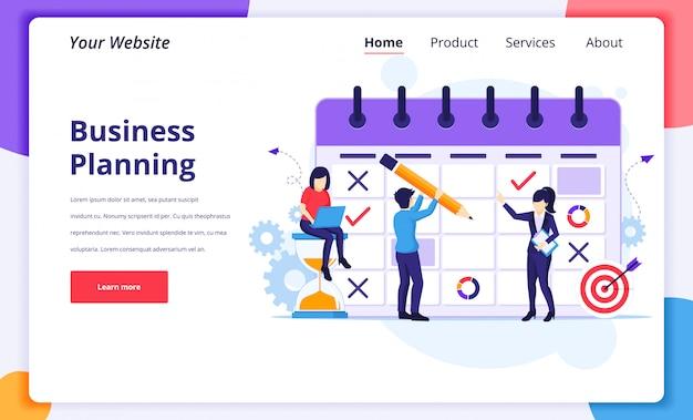 Иллюстрация концепции бизнес-планирования, люди заполняют график работы на гигантском календаре для целевой страницы сайта