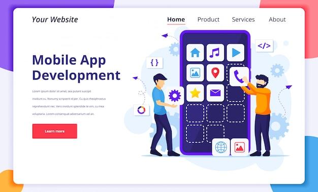 モバイルアプリ開発の概念図、ウェブサイトのランディングページ用の巨大なスマートフォンでソフトウェアアプリケーションを構築および作成する人々