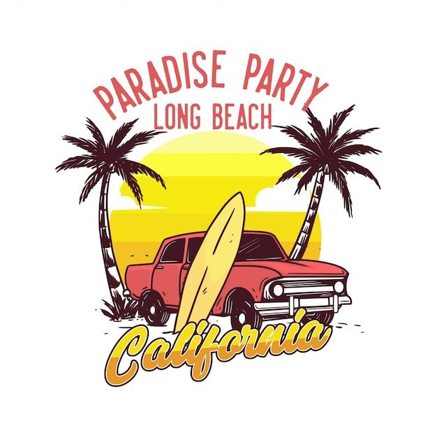 パラダイスパーティーロングビーチカリフォルニアデザインポスタービンテージ