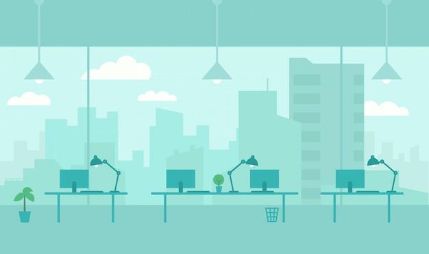 Офис с видом из окна города.