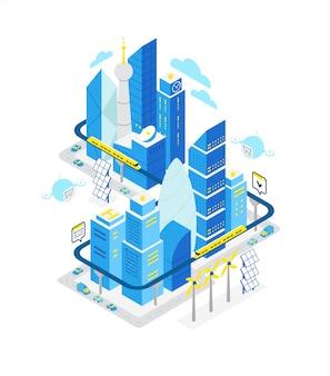 スマートシティデータセンターの等尺性建物。ネットワーキングによるホスティングサーバーテクノロジーの自動化。