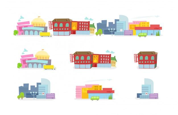Городской мультфильм красочных зданий.