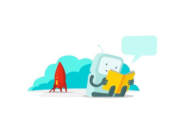 Робот прилетел на ракете и сидит читает книгу. инструкция пользователя. плоская цветная иллюстрация