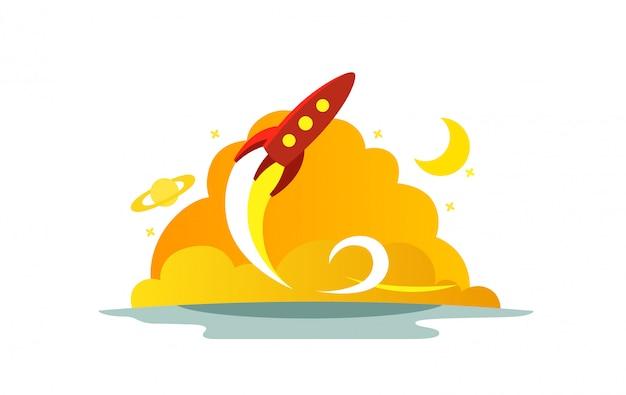Полет красная ракета цветные рисунки. метафора запуска. готов начать. начало пути к звездам.
