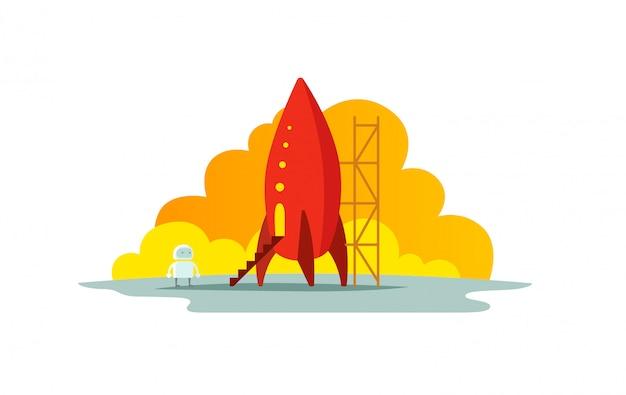 Красная ракета цветные рисунки. метафора запуска. готов начать. начало пути к звездам.