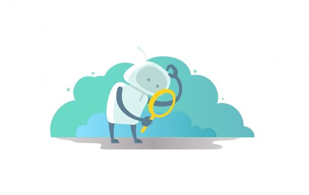 Робот-космонавт с лупой в руке ищет что-то. и почесывает голову