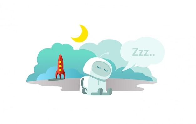 Чужой робот прибыл на ракете и спит. спящий режим спящий режим сидя. мтафора - закрыто.