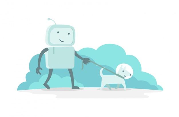 Робот персонаж астронавт человек гулять с собакой на поводке. плоская цветная иллюстрация