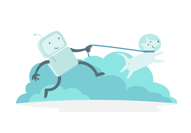 Робот персонажа-космонавта человек на прогулке бежит с собакой на поводке. собака бежит впереди. плоская цветная иллюстрация