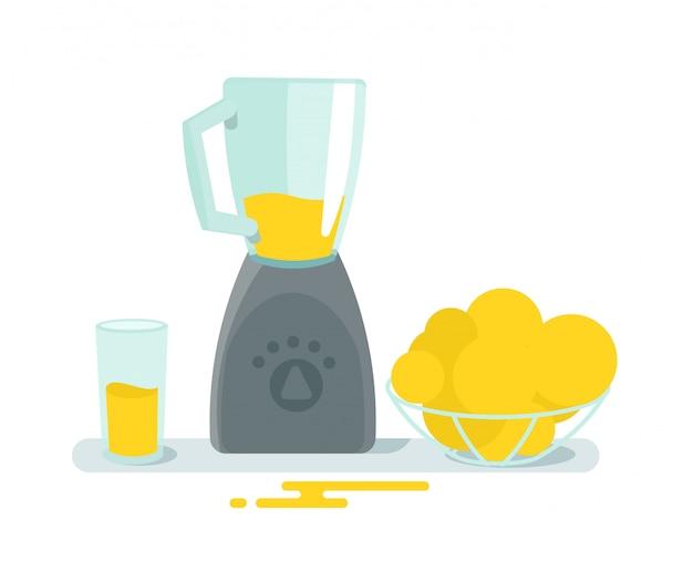 ミキサーガラスとテーブルの上の果物。調理ジュースの健康。家電。