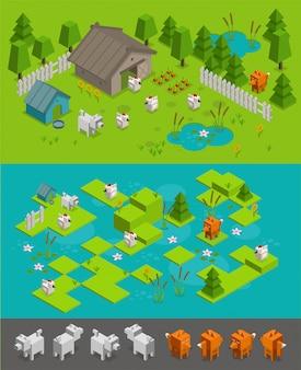 Изометрические аркадный уровень игры установлен. лисий вор ворует кур на ферме, собака защищает. разные персонажи элементы фона.