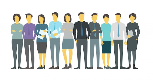 Люди команды студентов в линии группы бизнес персона. сток иллюстрация