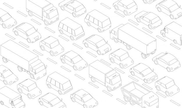 Пробка, автомобильная пробка, транспортная магистраль, дорога. много машин. серые линии очерчивают контурный стиль.