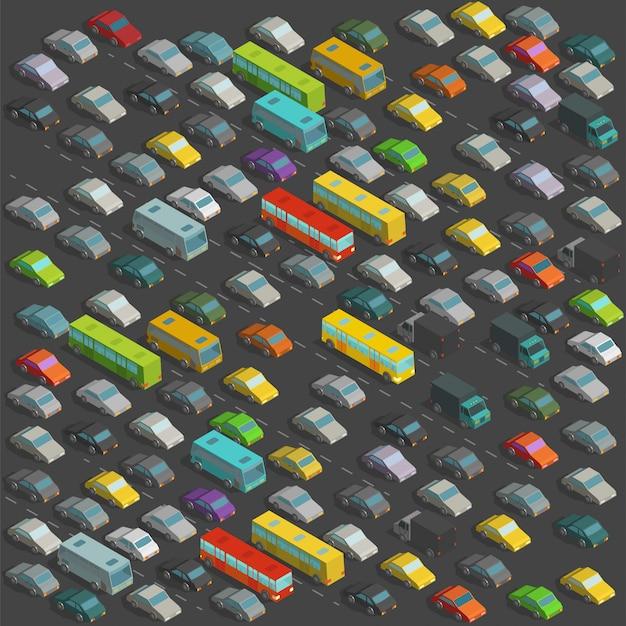 街の恐ろしい交通渋滞等角投影図。背景に多くの車のイラストがたくさん