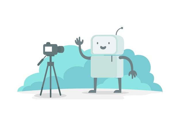 Видеоблогер робот персонажа перед камерой. стрим показывает на видео. селфи записывает для тебя трубку. репортер новостей репортаж. плоская цветная иллюстрация