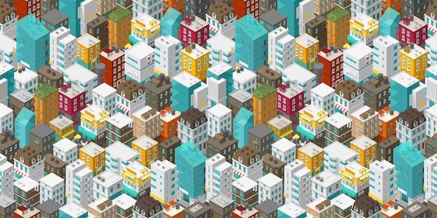 建物都市のシームレスなパターン。等尺性のトップビュー。ベクトル町都市通り。