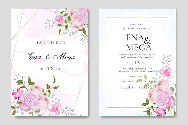 美しい花の葉で設定した結婚式の招待状