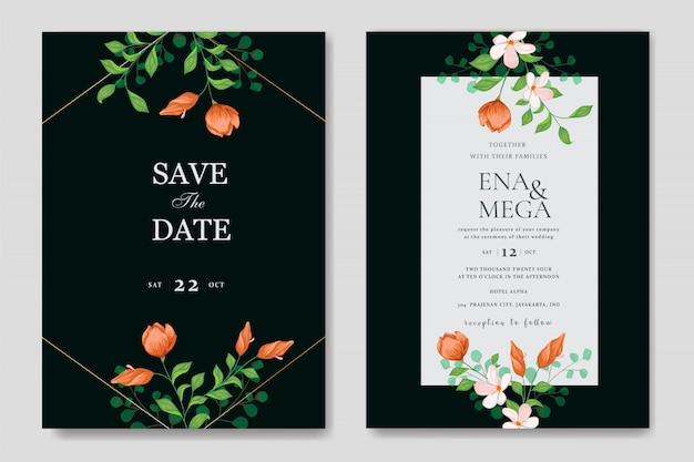Шаблон свадебной открытки с минималистичным цветочным