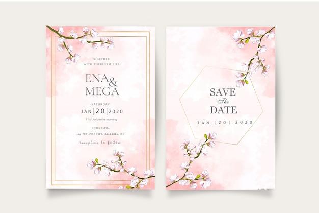 エレガントな桜の結婚式セットの招待状のテンプレート