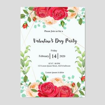 美しい花とバレンタインのパーティの招待状