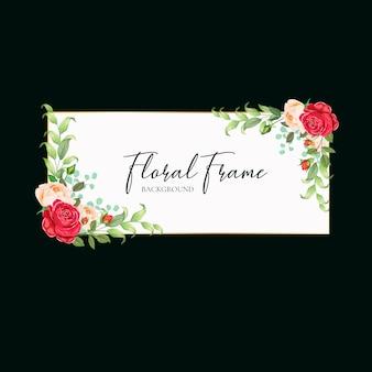 花のフレームの結婚式の招待カードデザインのベクトル