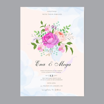 美しい花の結婚式の招待状の葉