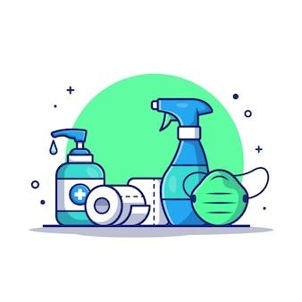 Дезинфицирующее средство, рулон туалетной бумаги и медицинская маска. иконка иллюстрация.