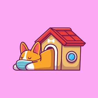 家のイラストで眠っているかわいいコーギー。犬のマスコットの漫画のキャラクター。分離された動物