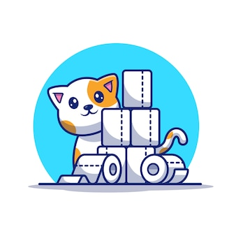 トイレットペーパーのイラストがかわいい猫。マスコットの漫画のキャラクター。分離された動物の白