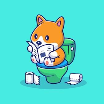 トイレのイラストをかわいいコーギーうんち。犬のマスコットの漫画のキャラクター。分離された動物