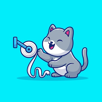 かわいい猫はトイレティッシュペーパーイラストを再生します。マスコットの漫画のキャラクター。分離された動物