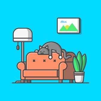 リビングルームのイラスト。猫とベンチ、植物、ランプ、リビングルームの分離
