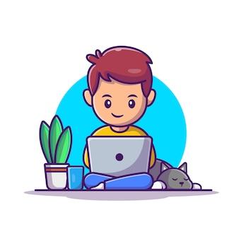 ノートパソコンのイラストで作業する男性。ホームマスコットの漫画のキャラクターから作業します。孤立した人々