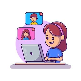 女の子のビデオ通話のラップトップのイラスト。ホームマスコットの漫画のキャラクターから作業します。孤立した人々