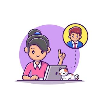 ノートパソコンのイラストに取り組んでいる女の子。ホームマスコットの漫画のキャラクターから作業します。孤立した人々