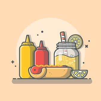 オレンジジュース、ケチャップ、マスタードアイコンイラスト分離されたおいしいコンボメニューホットドッグ