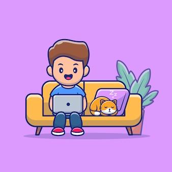 ノートパソコンと猫のイラストを持つ人々。在宅勤務マスコットの漫画のキャラクター。フラット漫画スタイル
