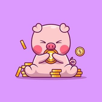 Милая свинья держит деньги животных