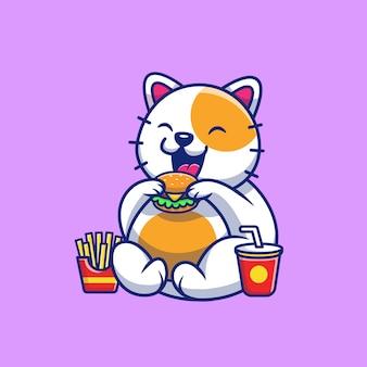 Милый кот ест гамбургер