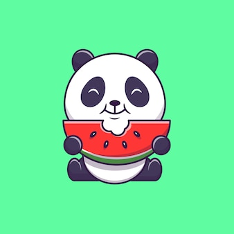 Милая панда ест арбуз