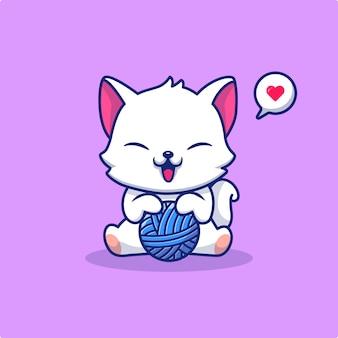 Милый кот играет пряжи мяч