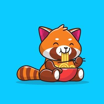 Симпатичные красная панда еды лапша значок иллюстрации. плоский мультяшный стиль