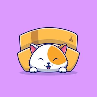 Милый кот играть в коробке мультфильм значок иллюстрации. плоский мультяшный стиль